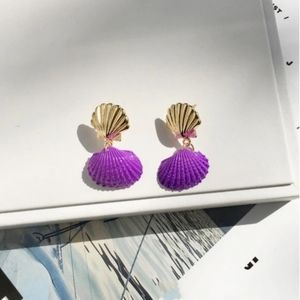 Jewelry - Clam Shell Drop Earring 14K Gold Plated Purple